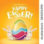 happy easter  easter bunnies... | Shutterstock .eps vector #384201490