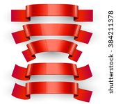 realistic red glossy ribbons.... | Shutterstock . vector #384211378