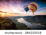colorful hot air balloons... | Shutterstock . vector #384233518