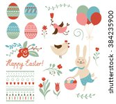 happy easter graphic elements  | Shutterstock .eps vector #384235900