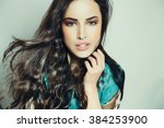 beautiful woman portrait with... | Shutterstock . vector #384253900
