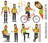 hipster in various positions in ... | Shutterstock .eps vector #384258574