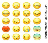 set of cute smiley emoticons ... | Shutterstock .eps vector #384258934