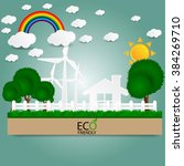concept of eco with family... | Shutterstock .eps vector #384269710