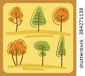 trees set autumn  | Shutterstock .eps vector #384271138