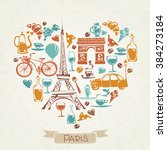 i love paris. heart shaped... | Shutterstock .eps vector #384273184