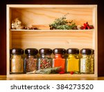 Jar With Cooking Spices And...