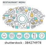 restaurant food concept... | Shutterstock .eps vector #384274978