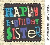 retro happy birthday card on... | Shutterstock .eps vector #384275458