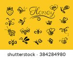 vector background with bees for ... | Shutterstock .eps vector #384284980