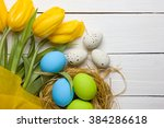 easter background with colorful ... | Shutterstock . vector #384286618