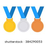Gold, silver and bronze medal icon. Medal set. Vector set. Medal isolated on white background