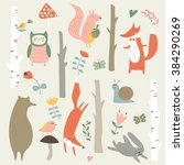 forest set with cute trees  owl ... | Shutterstock .eps vector #384290269
