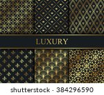 set of vector seamless gold... | Shutterstock .eps vector #384296590