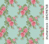 floral pattern with pink roses. ... | Shutterstock .eps vector #384298768
