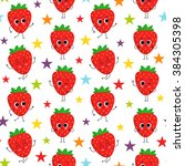 strawberry  vector seamless...   Shutterstock .eps vector #384305398
