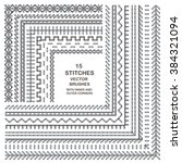 vector stitch pattern brushes.... | Shutterstock .eps vector #384321094