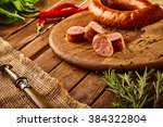 still life   sausage with... | Shutterstock . vector #384322804