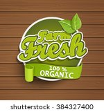 farm fresh  organic food label  ... | Shutterstock .eps vector #384327400
