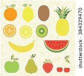 fruits. juicy delicious fruits. ... | Shutterstock .eps vector #384329470