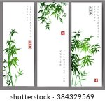 three banners with green bamboo ... | Shutterstock .eps vector #384329569