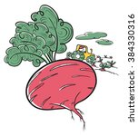 farm illustration. cute doodle... | Shutterstock .eps vector #384330316