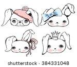 set of cute rabbit portraits   Shutterstock .eps vector #384331048