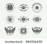 set of vintage rugby and... | Shutterstock .eps vector #384336430