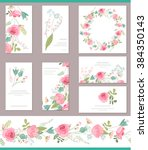 floral templates with cute... | Shutterstock .eps vector #384350143