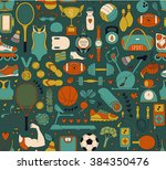 doodle sports elements. vector... | Shutterstock .eps vector #384350476