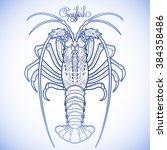graphic vector crayfish drawn...   Shutterstock .eps vector #384358486