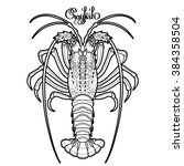 graphic vector crayfish drawn... | Shutterstock .eps vector #384358504