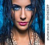 portrait of glamor girl with... | Shutterstock . vector #384360289