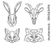 Stock vector geometric set of hare goat fox and raccoon vector animal heads drawn in line or triangle style 384363496