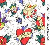 old school tattoo seamless... | Shutterstock .eps vector #384367540