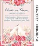 wedding invitation with white... | Shutterstock .eps vector #384374569