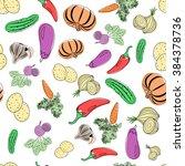 seamless pattern of vegetables   Shutterstock .eps vector #384378736
