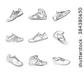shoes set on the wite background | Shutterstock .eps vector #384380650