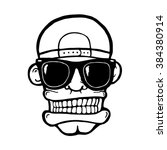 hip hop face  with sunglasses... | Shutterstock .eps vector #384380914