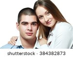 beautiful young happy couple... | Shutterstock . vector #384382873