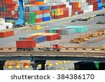 port cargo container  pipe and... | Shutterstock . vector #384386170