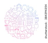 circle filled with linear icons ...   Shutterstock .eps vector #384394354