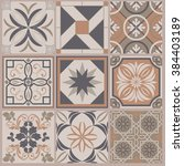 collection of 9 ceramic tiles...   Shutterstock .eps vector #384403189