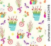 cute easter seamless pattern.... | Shutterstock .eps vector #384412498