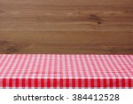 an empty table with a red... | Shutterstock . vector #384412528