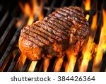 beef steak on the grill with... | Shutterstock . vector #384426364