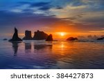 Sunset At Bandon Beach Over The ...