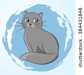 cute gray cat. illustration of... | Shutterstock .eps vector #384431848