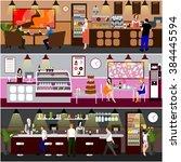 cafe interior vector... | Shutterstock .eps vector #384445594