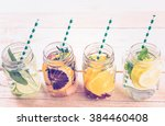 detox citrus infused water as a ... | Shutterstock . vector #384460408
